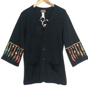 Bob Mackie Wearable Art Embroidered Cardigan L